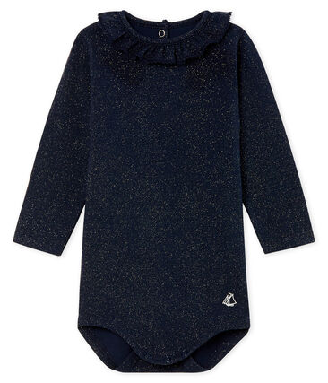 Baby Girls' Long-Sleeved Print Bodysuit with Ruff