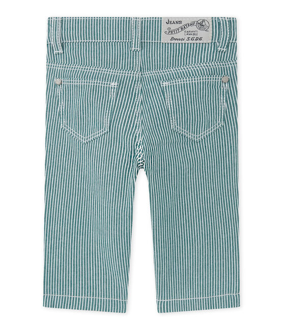 Baby boys' striped trousers Olivier green / Marshmallow white