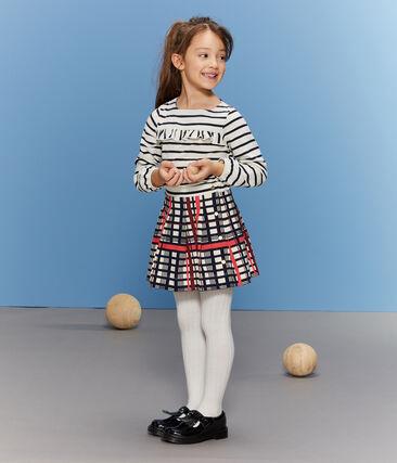 Girls' Pleated Checked Skirt Marshmallow white / Multico white