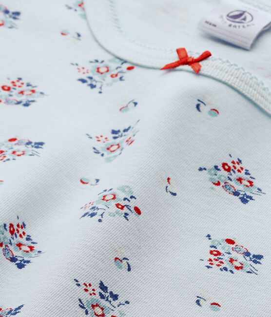 T-shirt fille imprimé en jersey stretch Fraicheur blue / Multico white