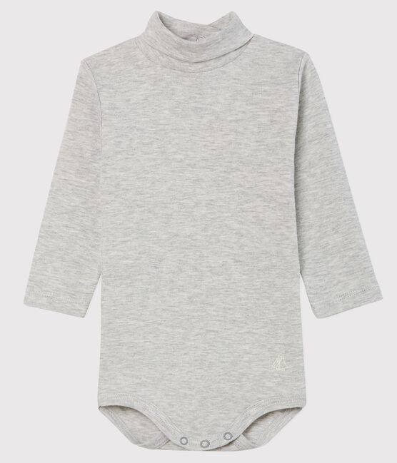 Baby's long-sleeved roll-neck bodysuit Beluga grey