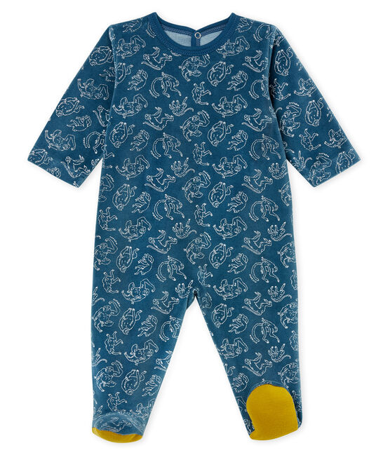 Baby Boys' Cotton Sleepsuit Shadow blue / Marshmallow white