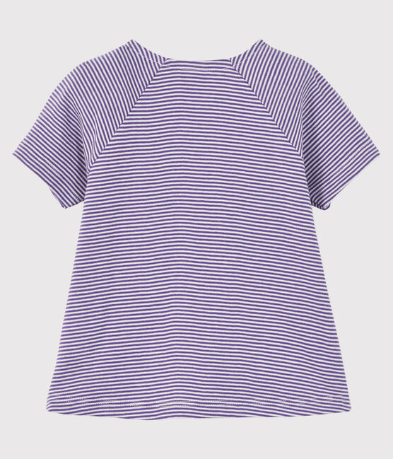 Baby girl's short-sleeved blouse Real purple / Marshmallow white