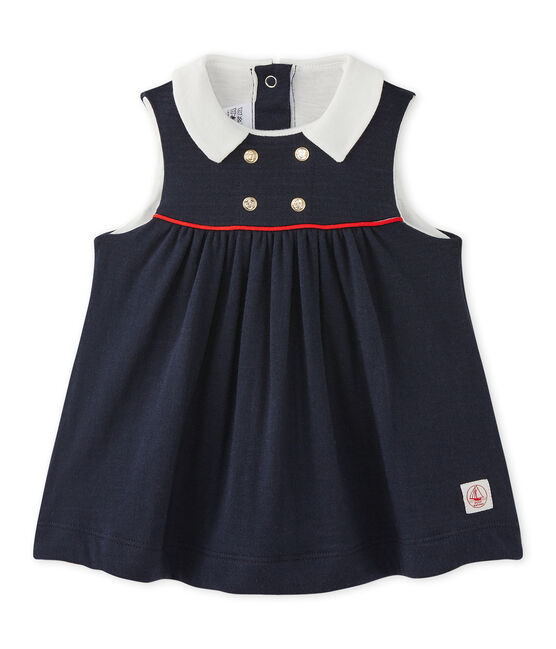 Baby girls' sleeveless dress in tube knit Smoking blue