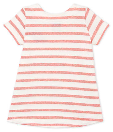 Baby Girls' Short-Sleeved Dress Marshmallow white / Joli Brillant pink