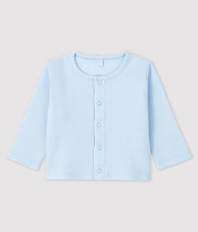 Babies' Organic Cotton 2x2 Rib Knit Cardigan Fraicheur blue