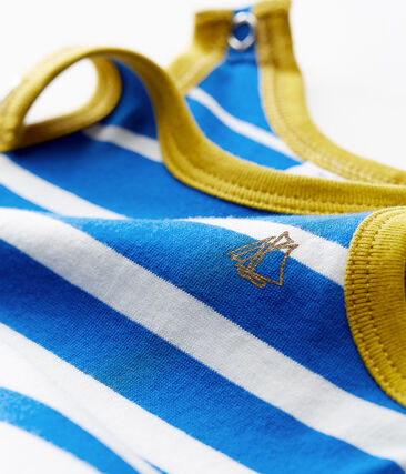 Baby boys' light jersey shortie with striped section Riyadh blue / Marshmallow white