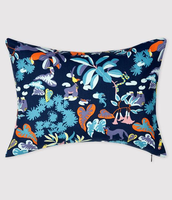 Jungle Print Poplin Cushion Medieval blue / Multico white