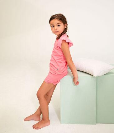 Girls' Ribbed Short Pyjamas Cupcake pink