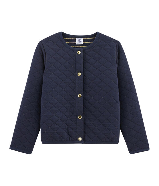 Girls' Tube Knit Cardigan Smoking blue / Or yellow