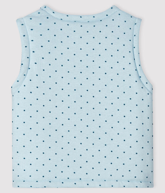 Baby Boys' Blue Reversible Sleeveless Vest in Padded Rib Knit Fraicheur blue / Multico white