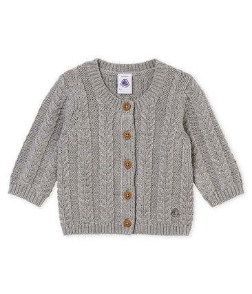 Mixed baby's wool and cotton cable knit cardigan