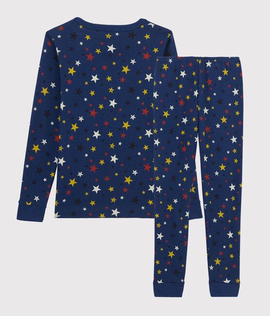 Children's Snugfit Starry Motif Ribbed Pyjamas Medieval blue / Multico white