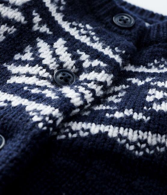 Baby's cardigan in 100% wool Smoking blue / Marshmallow white
