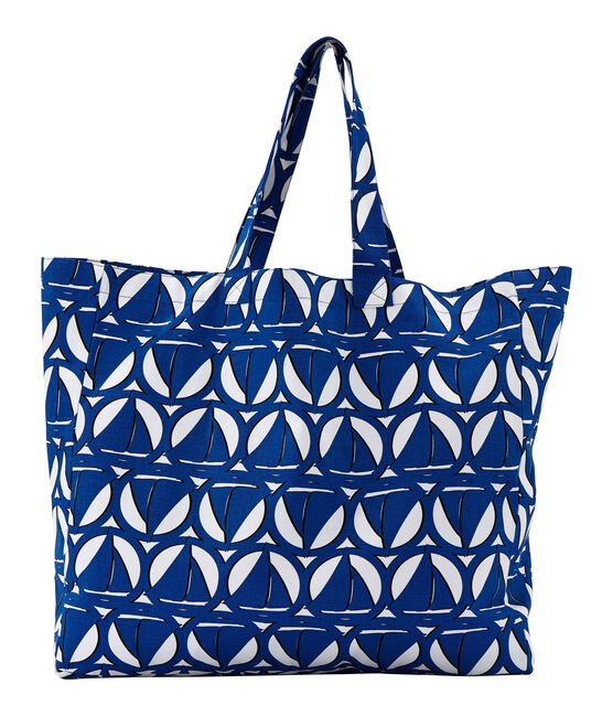 Maxi Tote bag in canvas Lait white / Perse blue