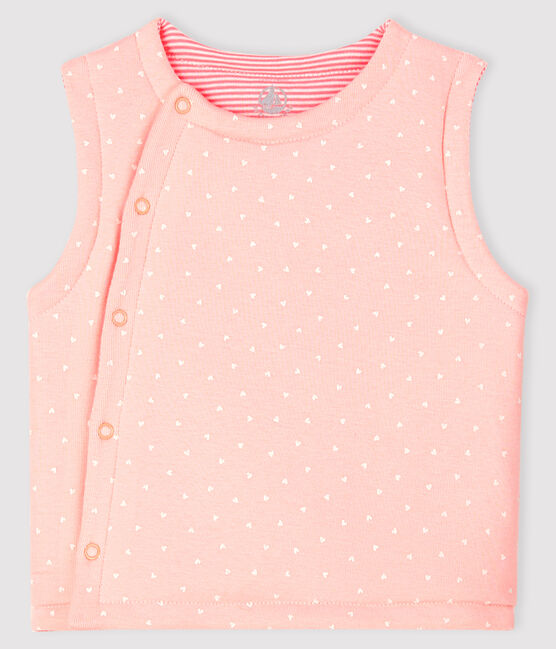 Baby Girls' Reversible Sleeveless Vest in Padded Rib Knit Minois pink / Marshmallow white