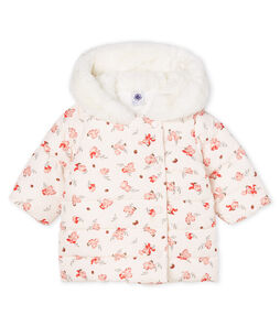 Baby Girls' Print Microfibre Down Jacket Fleur pink / Multico white