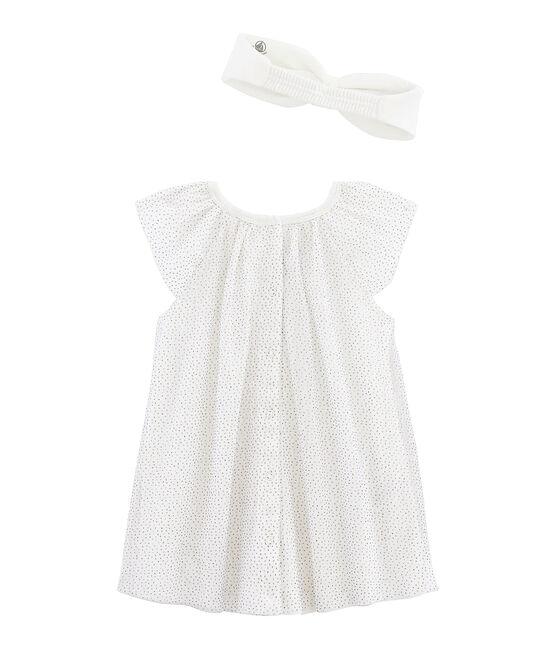 Baby Girls' Short-Sleeved Dress with Headband Marshmallow white / Or yellow