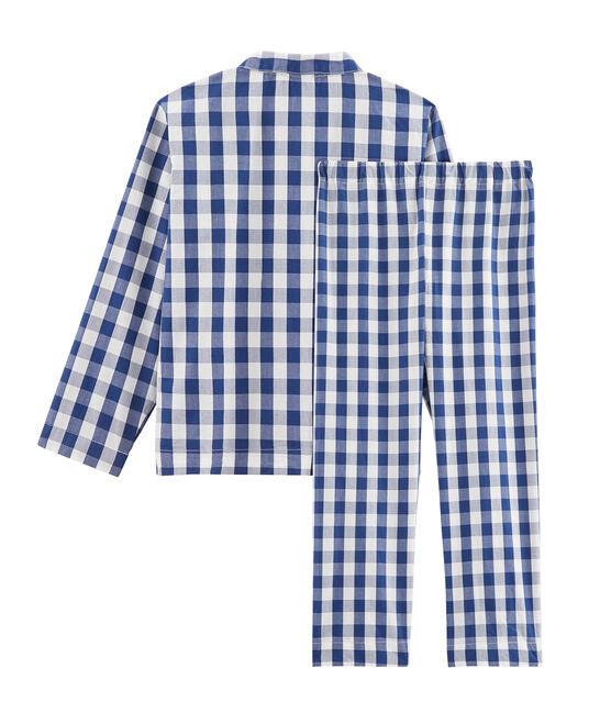 Boys' Twill Pyjamas Medieval blue / Marshmallow white