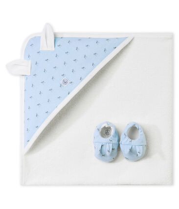 Unisex baby's set of bath towel and slippers