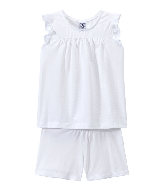 Girls' Fine Cotton Short Pyjamas Ecume white