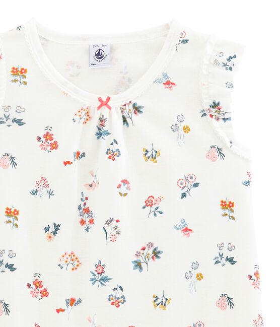 Little girl's nightgown Marshmallow white / Multico white