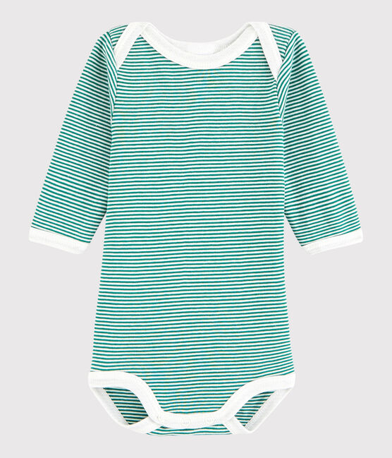 Baby Boys' Long-Sleeved Bodysuit Ecology green / Marshmallow white
