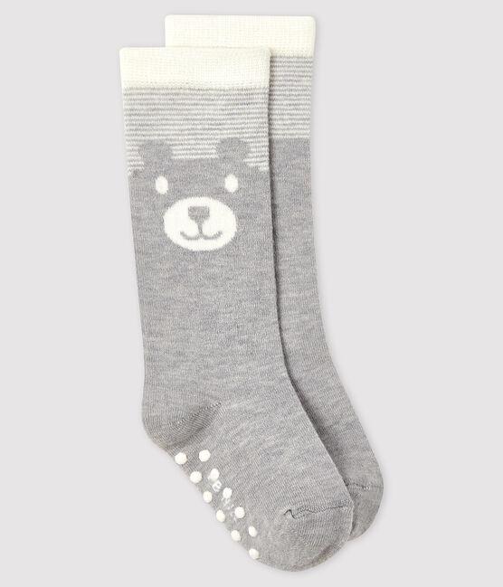 High-length baby socks Beluga grey / Marshmallow white