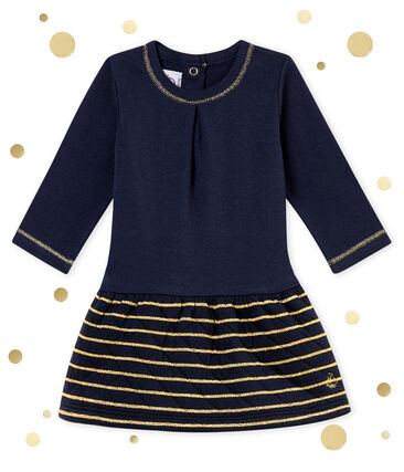 Baby girl's sailor stripe dual fabric dress