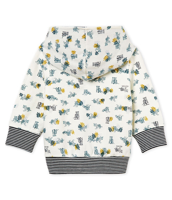 Baby boys' print hooded zip up Sweatshirt Marshmallow white / Multico white