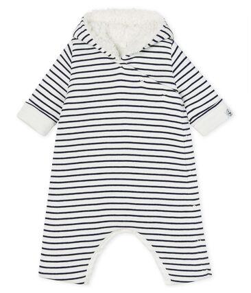 Babies' Long Jumpsuit in Padded Rib Knit Marshmallow white / Smoking blue