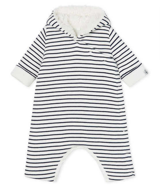 Babies' Long Jumpsuit in Padded Rib Knit Marshmallow white / Smoking blue