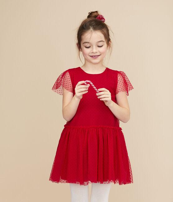 Girls' Short-Sleeved Dress Terkuit red