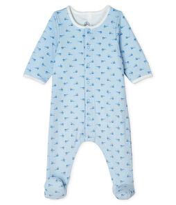 Baby Boys' Tube Knit Bodyjama Fraicheur blue / Multico white