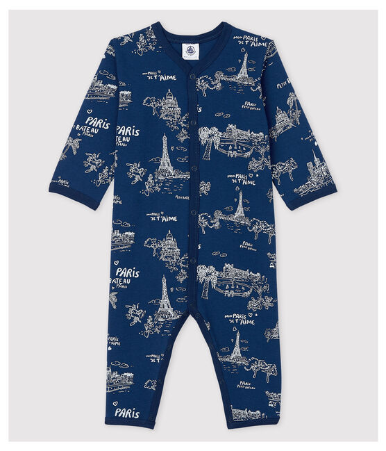 Babies' Toile de Jouy Footless Cotton Sleepsuit Medieval blue / Ecume white