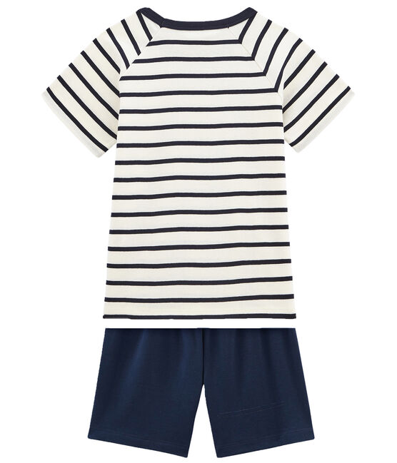 Boys' Ribbed Short Pyjamas with Sailor Stripes Marshmallow white / Smoking blue