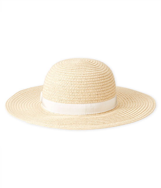 Straw hat for baby girls Naturel pink