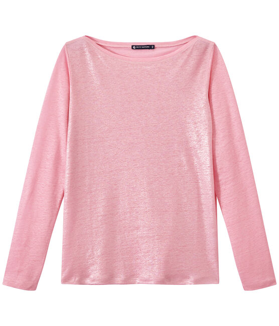 Women's iridescent linen long-sleeve tee Babylone pink / Argent grey