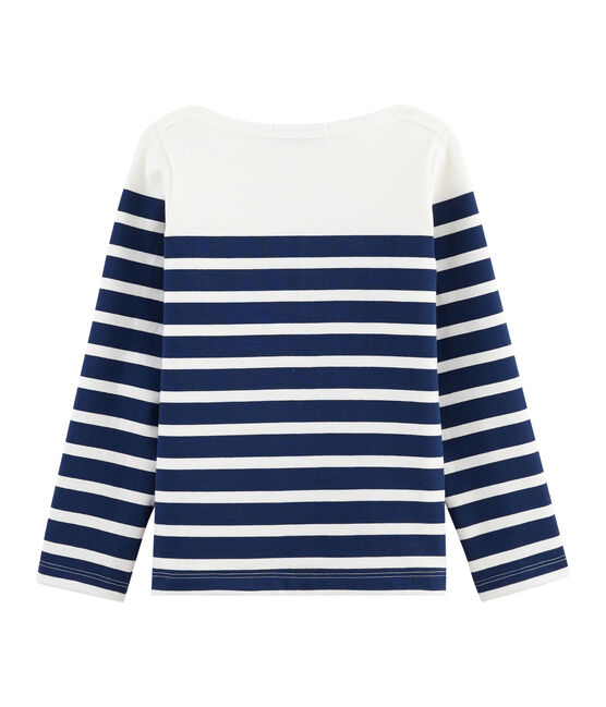 Children's Jersey Breton Top Marshmallow white / Medieval blue