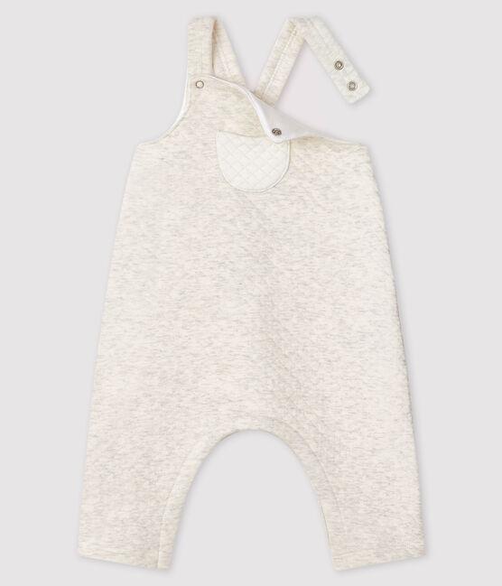 Babies' long tube-knit dungarees Montelimar Chine grey