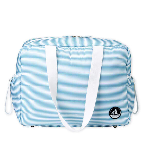 Unisex baby pinstriped changing bag Fontaine blue / Marshmallow white