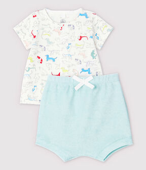 Babies' Colourful Puppies Organic Cotton Terry - 2-Pack Marshmallow white / Multico white