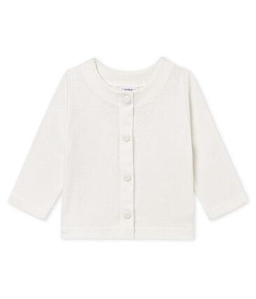 Baby girls' cotton/linen cardigan Marshmallow white