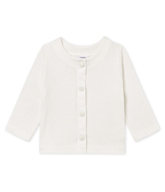 Baby girls' cotton/linen cardigan Marshmallow white