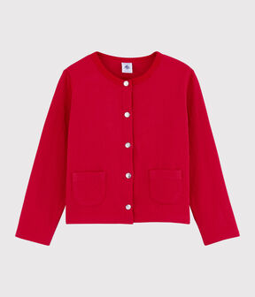 Girls' Tube Knit Cardigan Terkuit red