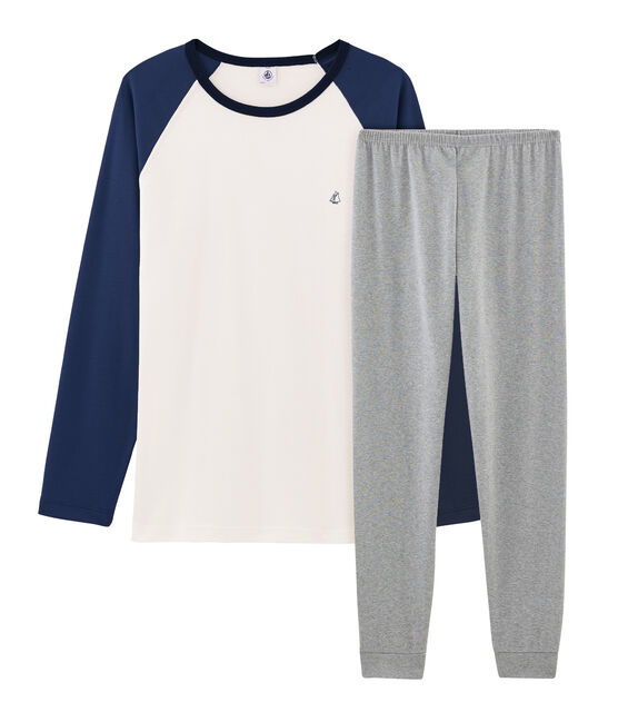 Boys' Ribbed Pyjamas Subway grey / Multico white