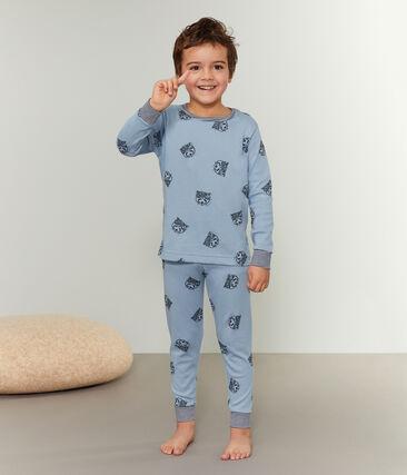 Boys' Ribbed Pyjamas Acier blue / Multico white