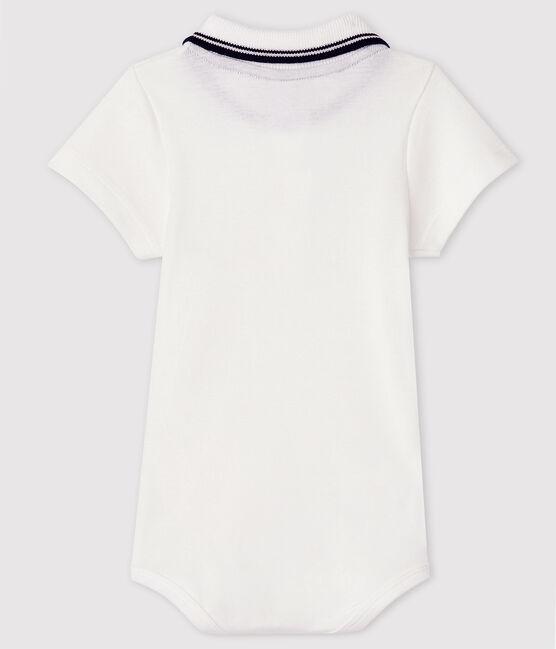 Baby Boys' Short-Sleeved Cotton Bodysuit with Polo Shirt Collar Marshmallow white