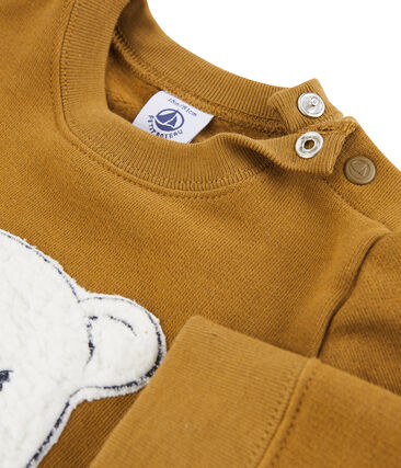 Baby Boys' Fleece Sweatshirt Marshmallow white / Crystal blue