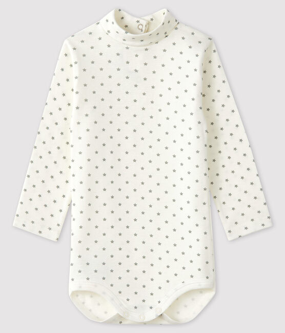 Baby boy's long-sleeved bodysuit Marshmallow white / Gris grey